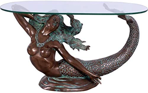 Nautical Tropical Imports Mermaid Table with Clear Glass Top Verde Bronze Finish
