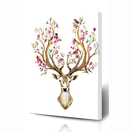 - Ahawoso Canvas Prints Wall Art 12x16 Inches Deer Pink Flower Watercolor Big Horns Nature Bird Tree Spring Floral Design Branch Wooden Frame Printing Home Living Room Office Bedroom
