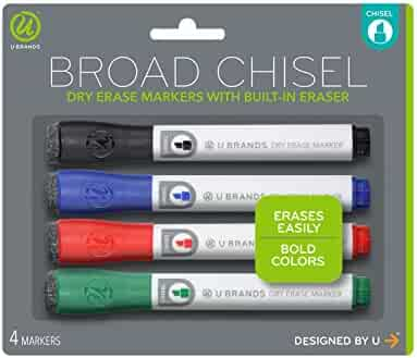 U Brands Low Odor Dry Erase Markers With Erasers, Chisel Tip, Assorted Classic Colors, 4-Count