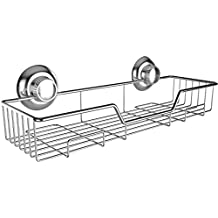 Gecko-Loc Stainless Steel Shower Caddy Shelf with Suction Cups, Chrome
