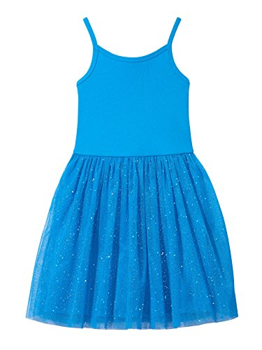 City Threads Girls Princess Ballerina Tutu Dress Sparkle Tulle Bubble Mesh Skirt Sundress Summer Dance Soft Cotton Ballet Party Dress, Turquoise, 8 ()