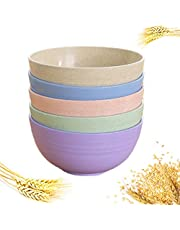 5pc Wheat Straw Cereal Bowl For Soup, Noodle, Fruit Kids Cereal Bowls Wheat Straw Fiber Unbreakable , Lightweight Bowl Rice, Soup Bowls Biodegradable Lightweight Natural Wheat Straw Bowl Coloful,For Kids Children Toddler & Adult (12 Cm)