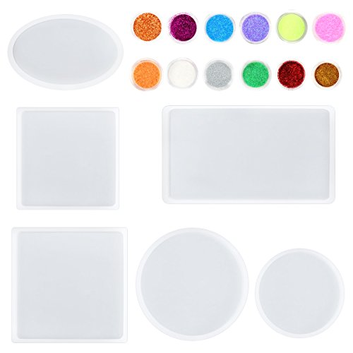 Kabi 6 Pack Big Resin Casting Mold Epoxy Coaster Molds with Round Square Rectangle Ellipse Shapes and 24pcs Glitter Powder by Kabi