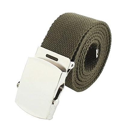 eDealMax Los adolescentes estudiantes de Nylon Ajustable Casual Web Cintura de la lona Hebilla de cinturón