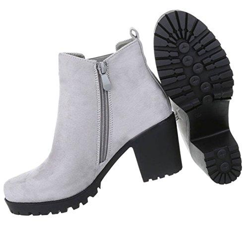 Damen Stiefelette | Stiefeletten Plateau Wedges | Keilabsatz Schuhe | Wedge Ankle Booties | Weiße Profilsohle | Schnürstiefelette | Schuhcity24 Hellgrau