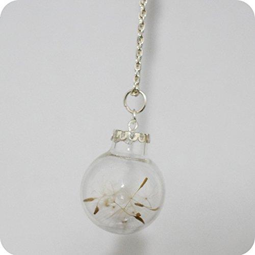 Dandelion Necklace, Make a Wish Necklace, Glass Globe Necklace, Glass Terrarium, Make a Wish Charm