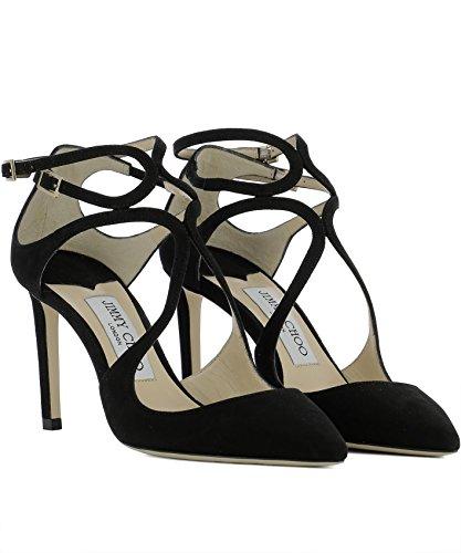 Jimmy Choo Mujer LANCER85SUEBLACK Negro Gamuza Zapatos de Tacón