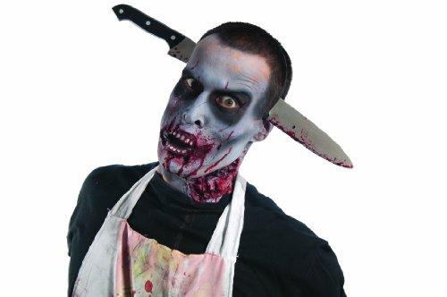 Thriller Costumes Zombies (Rubie's Costume Zombie Shop Kitchen Knife-Thru-Head, Silver/Red/Black, One Size)