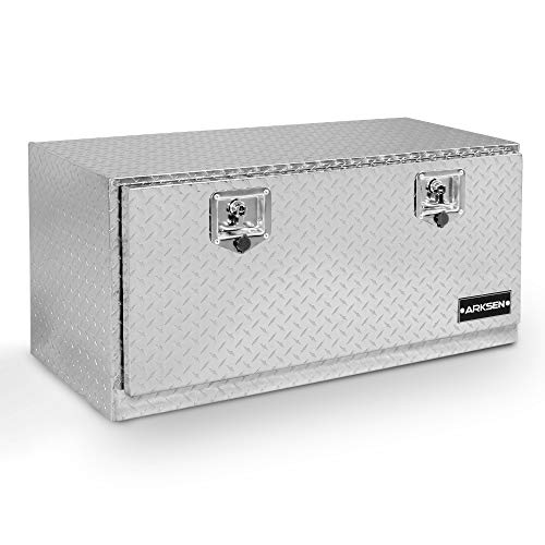 "ARKSEN 36"" Durable Truck RV Aluminum Diamond Plate Tool Box Underbody Trailer Storage With T-Handle Latch Key, Silver"