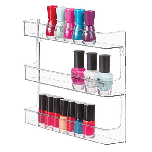iDesign Clarity Wall Mount Nail Polish Storage Rack with 3 Shelves for Bathroom, Vanity, Closet, Bedroom, Clear