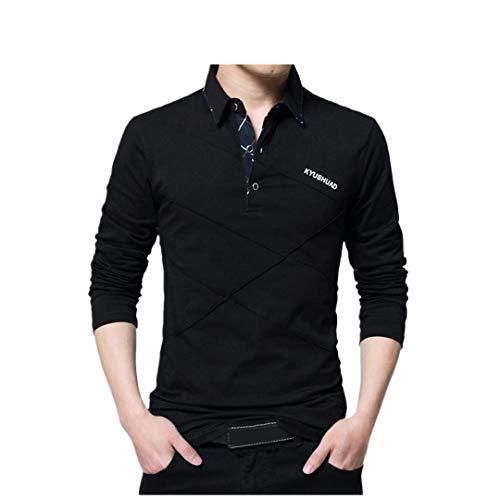 (Mens Black Shirt, Men Spring Long Sleeve Top Blouse, Business Long Sleeve Shirt Office Workwear Top Blouse YOcheerful(Black,2XL))