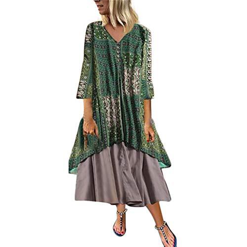 Toimothcn Vintage Linen Dress Women Bohemian Sundress Short Sleeve Floral Print Plus Size Long Maxi -