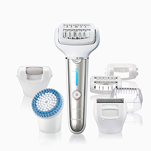 Panasonic Cordless Versatile Wet/Dry Shaver & Epilator For Women With 7 Attachments, Gentle Hair Removal & Body Exfoliation - ES-EL9A-S (Silver)