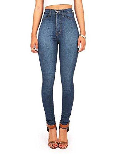 Spandex Zip Fly Jeans - Vibrant Womens Juniors Classic High Waist Denim Skinny Jeans 15 Medium Denim