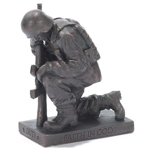 Duty Faith God Praying Soldier 5 inch Gray Resin Stone Table Top Figurine