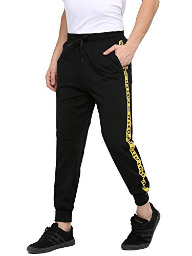 Maniac Men's Slim Fit Side Taped Cotton Joggers Track Pant with Zipper Pockets