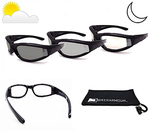 Light Adjusting Motorcycle Sunglasses Foam Padded for Men and Women with Safety Polycarbonate Photochromic Lenses. Free Microfiber Case. - Light Motorcycle Adjusting Glasses