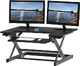 SHW Height Adjustable Sit to Standing Desk Converter Riser Workstation, Black