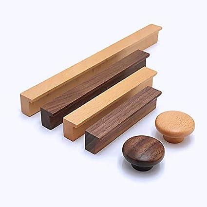 Hole CC192mm,Walnut 4Pack Modern Cabinet Kitchen Knobs Pulls Wooden Drawer Dresser Cupboard Door Pulls Furniture Wardrobe Handles 4Pack