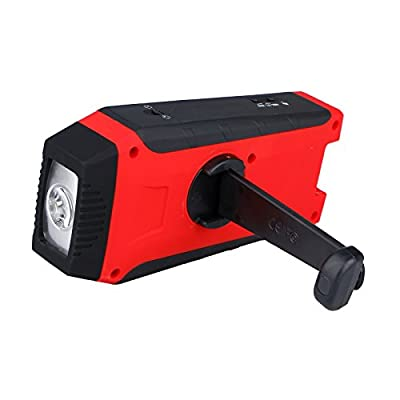 Weather Radio,OUTERDO Emergency Radio Dynamo Survival Solar Hand Crank Self Powered AM/FM/NOAA Weather Radio,LED Flashlight,Phone Charger Power Bank with Cables For Camping,Travel, Home