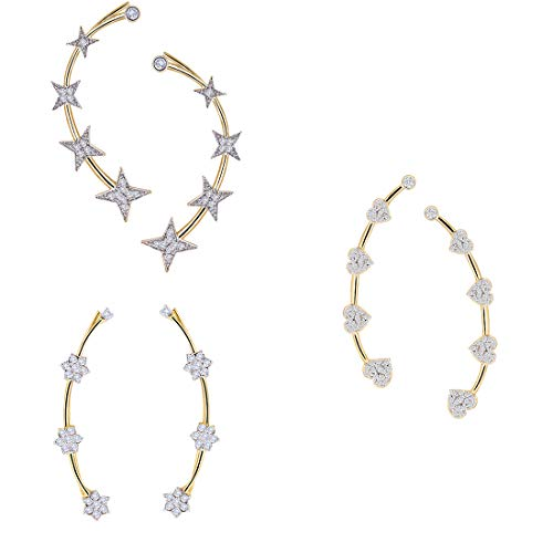 Zeneme Precious American Diamond Gold Plated Earcuff Jewellery For Women and Girls – Combo of 3
