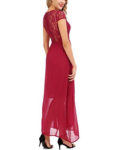 de Rojo Largo Vino Vestidos FISOUL Vestido Fiesta Chiffon Mujer Boda Vintage wqTWvX64