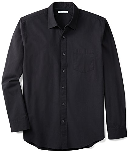 Amazon Essentials Men's Long-Sleeve Solid Poplin Shirt, Black, XX-Large