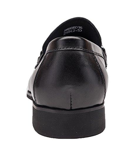 Heren Penny Loafer Lederen Schoenen Weave Ornament Formele Kleding Schoenen Door Santimon Zwart Zwart