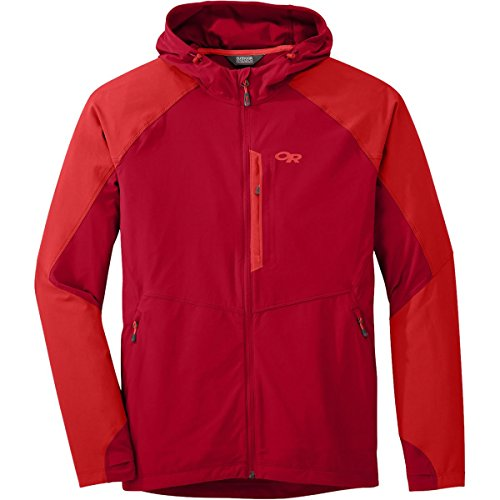Outdoor Research Men's Ferrosi Hooded Jacket, Agate/Hot Sauce, Medium