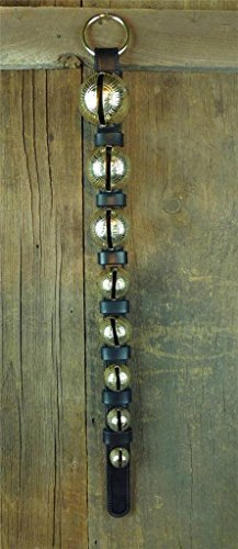 Nohma Leather 8 Classic Brass Sleigh Bells on Leather Strap, Door Hanger Amish (8 Leather Hanger)