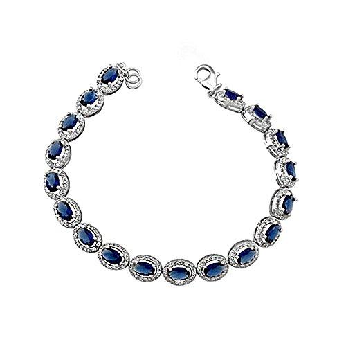 Bracelet Loi de 925m Argent. rodiada 6 mm ovale. saphir [AA4487]