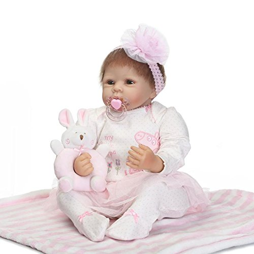 (NPK collection Reborn Baby Doll Soft Silicone 22inch 55cm Newborn Baby Doll Kits for Beginners Pink Lace Dress Free Magnetic pacifier)