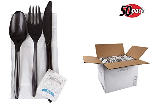 Medium-Weight Black Individually Wrapped Plastic 10 Inches Cutlery Set Fork Knife Spoon with 1-ply Napkin 9