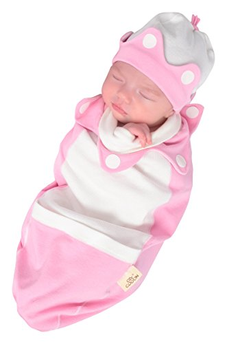 Cozy Cocoon Super Easy Swaddling Outfit with Matching Hat, Pink, Little Princess, 3-6 Months