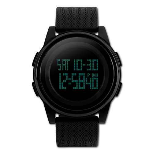 Men Digital Sports Watch,Casual Military Electronic watches 24H Dual Two Time LED Back Light Thin Unique Simple Design Waterproof 50M Water Resistant Calendar Month Date Day - Black