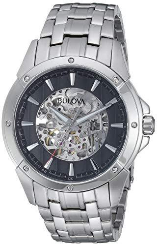 Bulova Men's 96A170XG Automatic Black Skeleton Dial Silver-Tone Bracelet 43mm Watch (Certified Refurbished)