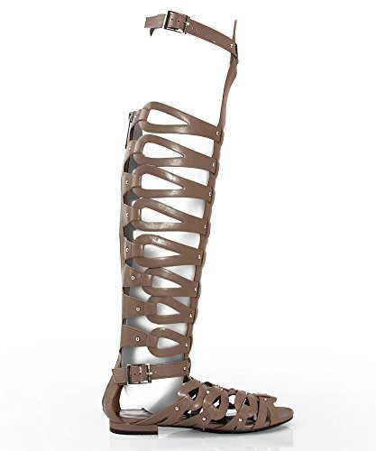 Breckelles Women's Over the Knee Flat Gladiator Sandals,8 B(M) US,Natural PU