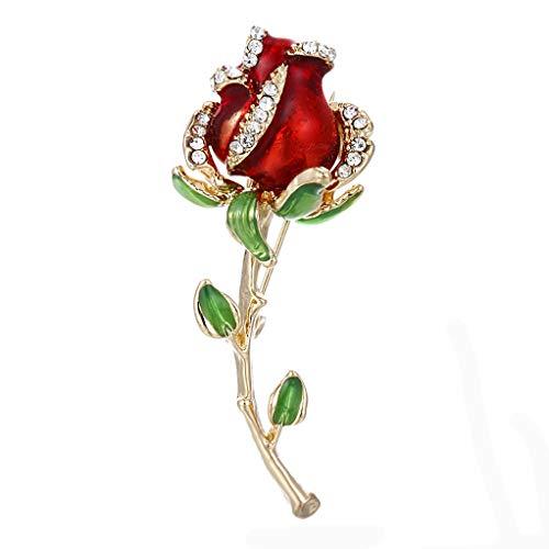 SELOVO Elegant Rose Flower Red Green Enamel Crystal Brooch Pin Jewelry Gold Tone