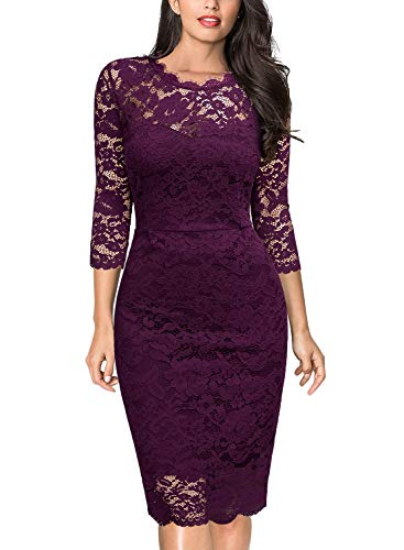 Miusol Women's Retro Floral Lace Slim Evening Cocktail Mini Dress (XX-Large, -