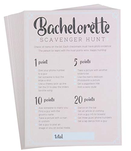 Bachelorette Party Games - 50-Pack Bar Scavenger Hunt Drinking Game and Dares, Fun Novelty Cards for Girls Night Out, Bachelorette Party Supplies, 5 x 7 Inches (Bachelorette Party Dares List For The Bride)