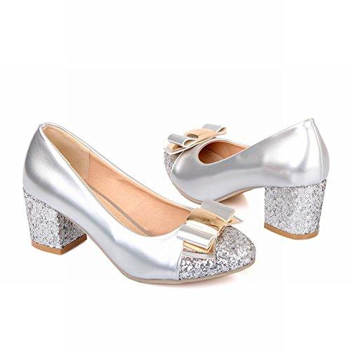 Carol Chaussures Mode Femmes Paillettes Brillantes Bowknots Manchette Chunky Talon Moyen Robe Pompes Chaussures Argent