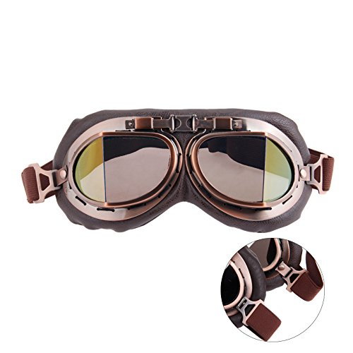 Helmet Steampunk Vintage Goggles Sunglasses Eyewear for Outdoor Sports Motocross Racer - Smoke Len]()