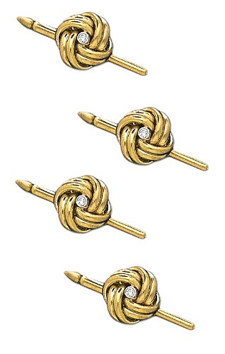 14K Yellow Gold Solid Love Knot Shirt Stud Set With Center Diamond-86705 by L&M
