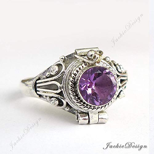 Purple Amethyst Size 6 Poison Ring Locket Sterling Silver Secret Compartment -