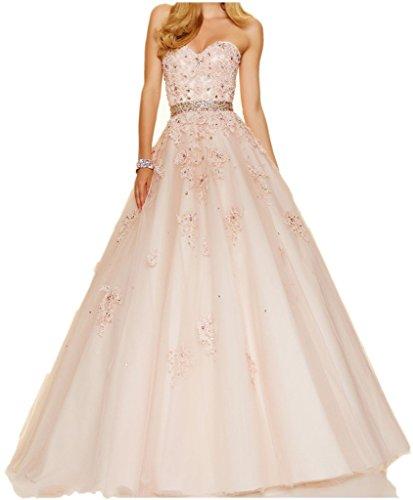 Abschlussfeiern A Charmant linie Spitze Rosa Ballkleider Abendkleider Damen Tanzenkleider Abiballkleider Lang Wunderschoen qXwHXzR