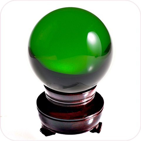 Amlong Crystal Clear Crystal Ball 80mm Including Wooden Stand - 1