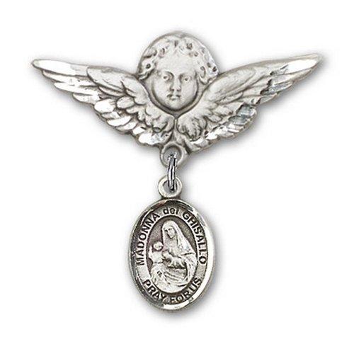 Icecarats Créatrice De Bijoux En Argent Sterling St. Charme Ange La Broche De Badge Madonna Del 1 1/8 X 1 1/8