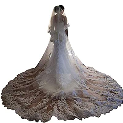 Faiokaver Wedding Veils 2 Tier Cathedral Length for Bride Floral Lace Appliques with Comb