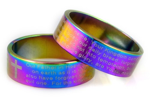 S17 Rainbow Multi Color Stainless Steel Our Father Prayer Ring Cross Christian Bible (10) - Multi Color Cross Ring