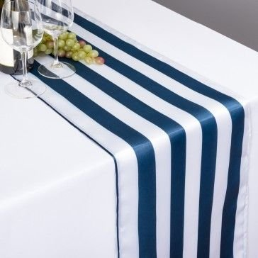 lovemyfabric Pack of 10 Satin 2 Inch Striped Table Runners For Wedding/Bridal Shower Birthdays/Baby Shower and Special Events (Navy and White, 12''X120'')